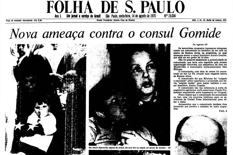 1970: Polícia uruguaia busca sem êxito achar cônsul após ameaça