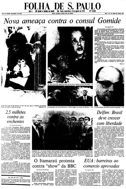 Primeira Página da Folha de 14 de agosto de 1970