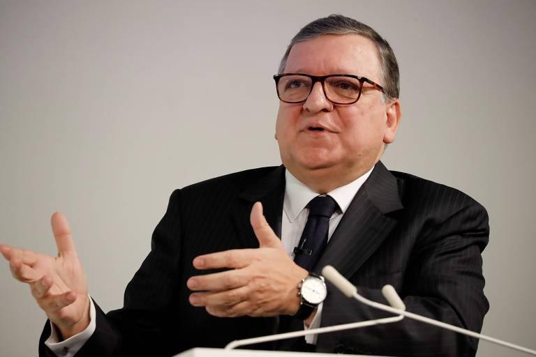 O ex-presidente da Comissão Europeia José Manuel Durão Barroso durante conferência sobre o brexit, em Londres