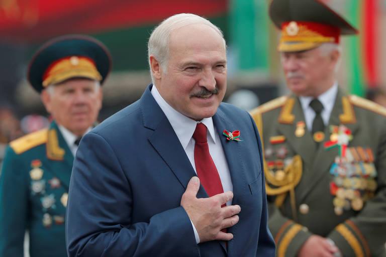 O autocrata bielorrusso Aleksandr Lukachenko na festa da independência do país