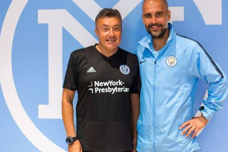 Torrent, já no comando do New York City, ao lado de Pep Guardiola, técnico do Manchester City