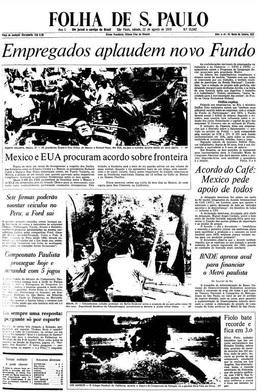 Primeira Página da Folha de 22 de agosto de 1970