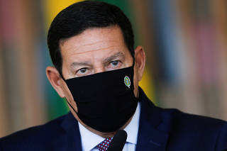 Brazil's Vice President Hamilton Mourao speaks during a news conference at the Itamaraty Palace in Brasilia