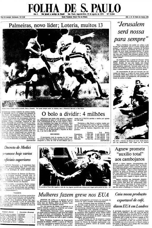 Primeira Página da Folha de 24 de agosto de 1970