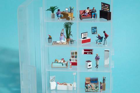 ***especial***  A nova realidade de hábitos e consumo - ilustração com miniaturas para a capa do caderno **datafolha** *exclusivo**