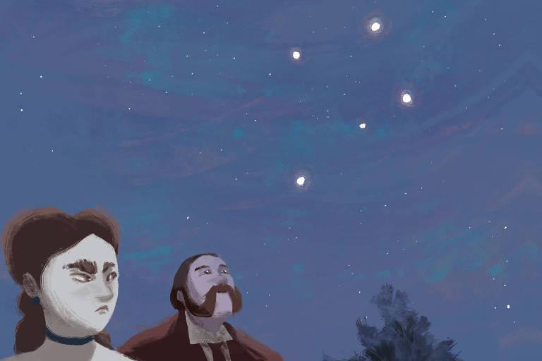Rubião passeia à noite com Sofia em uma parque, sob o céu estrelado