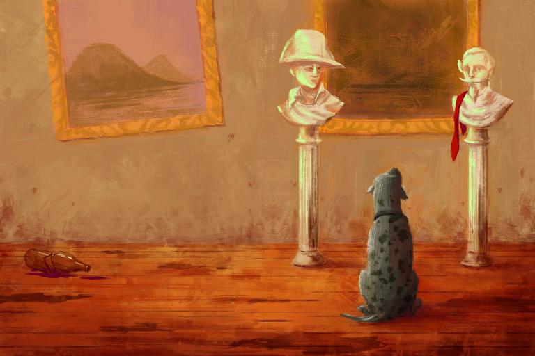 Ilustração de cachorro de pelo acinzentado, sentado de costas diante de dois bustos de mármore. Ele olha para um dos bustos.