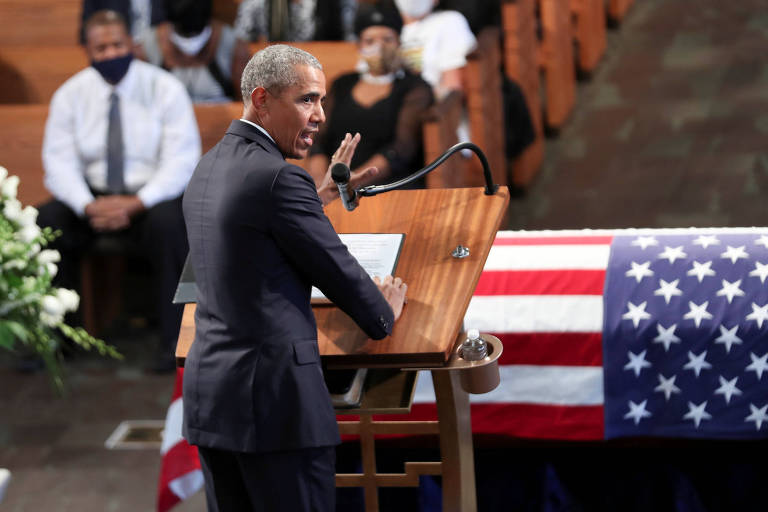 O ex-presidente dos EUA Barack Obama discursa durante funeral do deputado e ícone da luta pelos direitos civis John Lewis