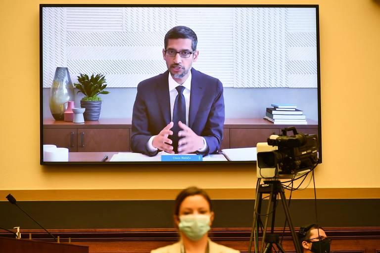 Sundar Pichai, presidente do Google, em audiência no Congresso americano sobre antitruste nesta semana