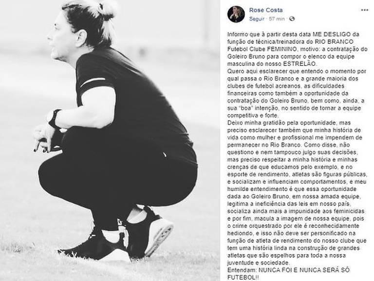 Rose Costa seria técnica do Rio Branco-AC, mas anunciou no Facebook o seu desligamento do clube