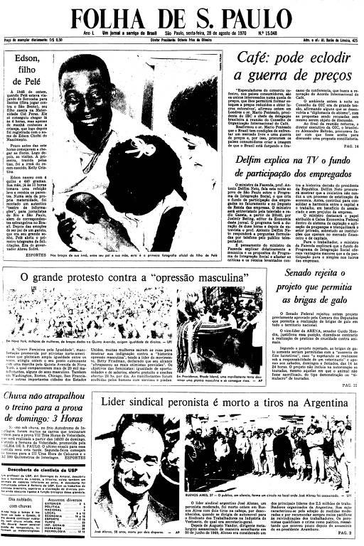 Primeira Página da Folha de 28 de agosto de 1970