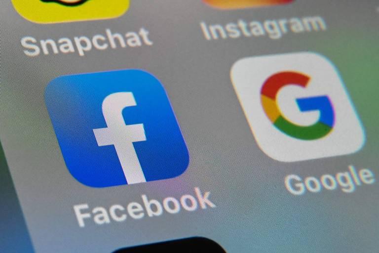 Na imagem, os ícones dos aplicativos do Google e do Facebook; Austrália apresenta projeto de lei para obrigar redes a pagar pelo conteúdo dos meios de comunicação do país