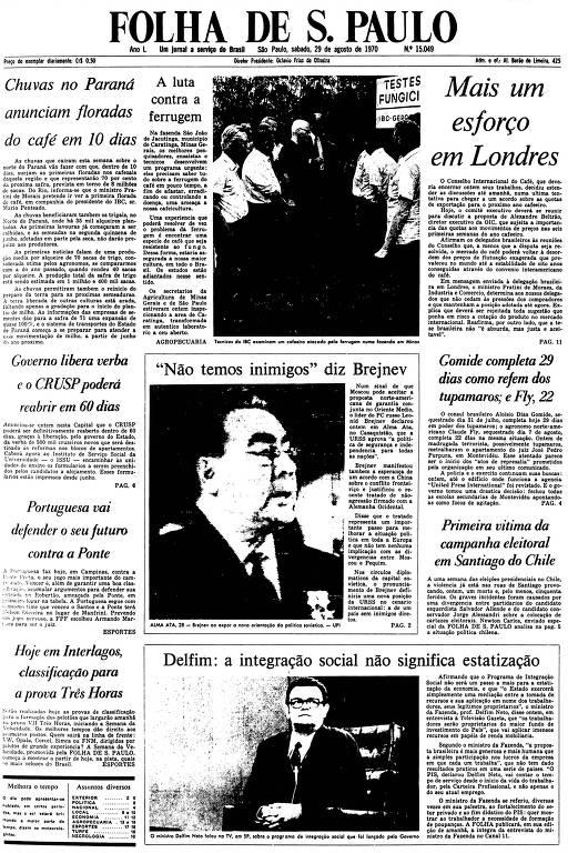 Primeira Página da Folha de 29 de agosto de 1970