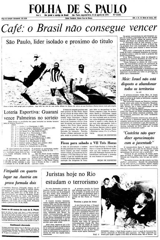 Primeira Página da Folha de 31 de agosto de 1970