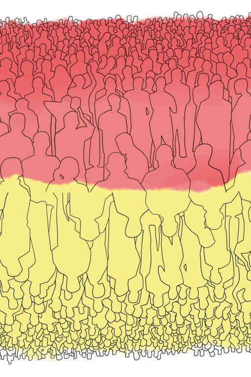 dois grupos um vermelho e o outro em amarelo