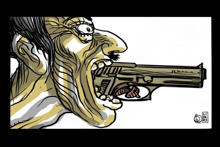 Ilustração de homem segurando arma com a boca