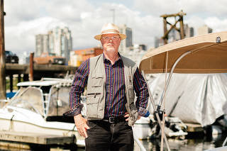 Tim Bray, a former Amazon vice president and senior engineer, on his boat in Vancouver, Canada, July 10, 2020. (Alana Peterson/The New York Times)