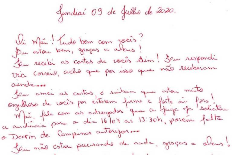 carta escrita a mão