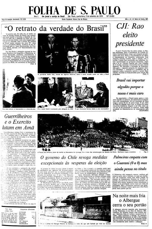 Primeira Página da Folha de 2 de setembro de 1970