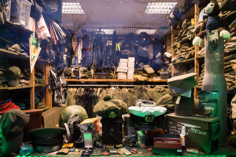 A military accessory shop in Schwerin, Germany, whose owner was part of the Nordkreuz, a neo-nazi group, Feb. 26, 2020. The Nordkreuz case, which only recently came to trial after being uncovered more than three years ago, shows that the problem of far-right infiltration is neither new nor confined to to the KSK, or even the military. (Gordon Welters/The New York Times)
