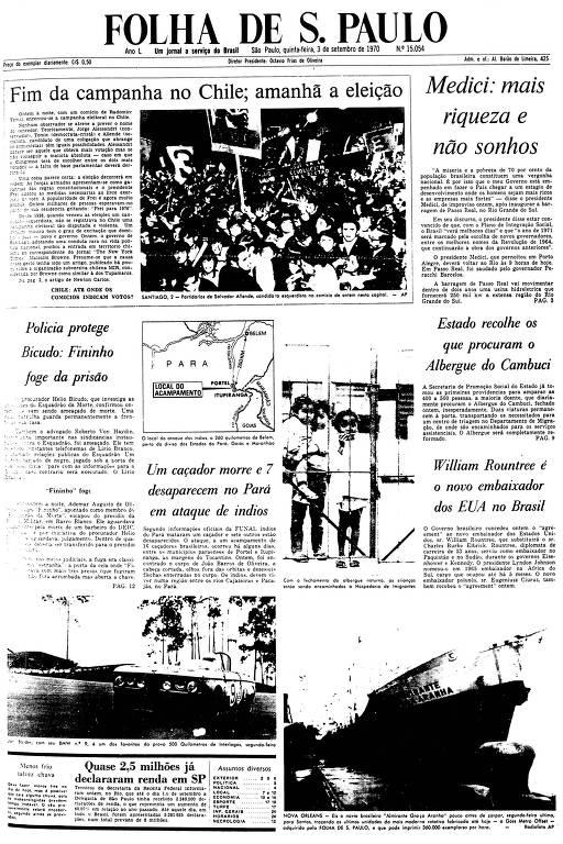 Primeira Página da Folha de 3 de setembro de 1970