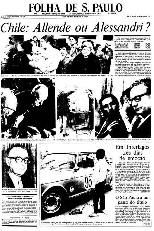 Primeira Página da Folha 5 de setembro de 1970