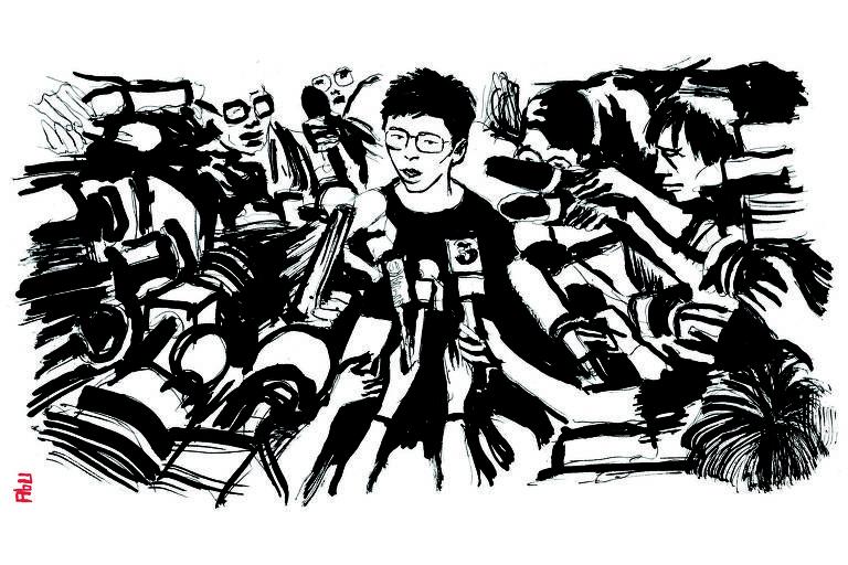 Ilustração de homem sendo entrevistado, várias mãos com microfones segurando em direção a ele