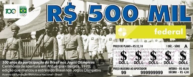 Bilhete da Loteria Federal com o desfile da delegação brasileira na Antuérpia, em homenagem ao centenário do país nos Jogos