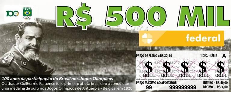 Bilhete da Loteria Federal com o atirador Guilherme Paraense, em homenagem ao centenário do país nos Jogos
