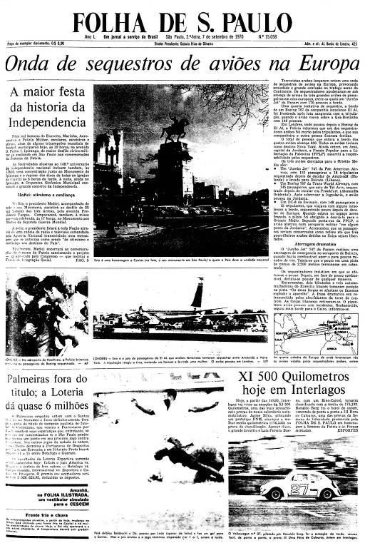 Primeira Página da Folha de 7 de setembro de 1970