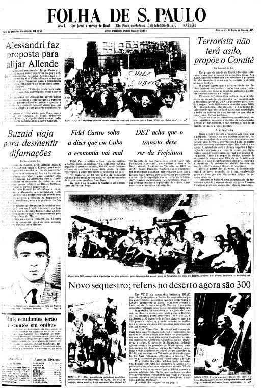 Primeira Página da Folha de 10 de setembro de 1970