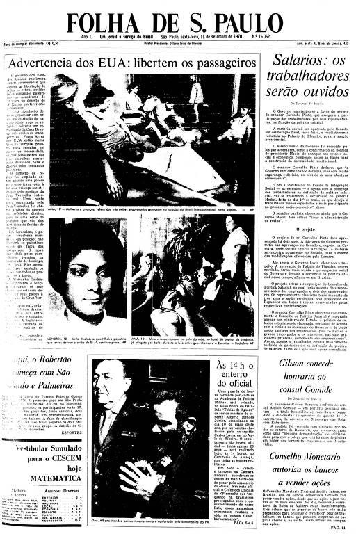 Primeira Página da Folha de 11 de setembro de 1970