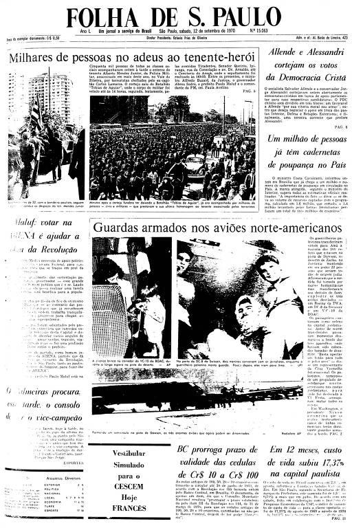 Primeira Página da Folha de 12 de setembro de 1970
