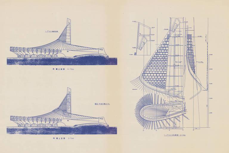Ilustração dos projetos ambiciosos de Kenzo Tange para o Ginasio Yoyogi Gymnasium, em Tóquio, capital japonesa. Ele desenvolveu uma nova tecnologia para concreto armado, e o teto suspenso do prédio era o maior do mundo na época