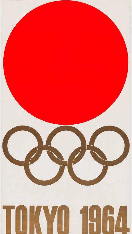 Uma litografia de Yusaku Kamekura feita para as Olimpíadas de 1964, em Tóquio