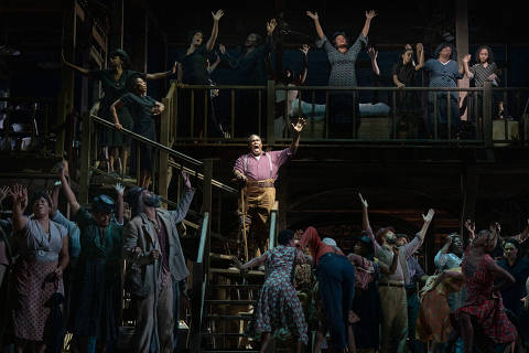 FILE - Eric Owens, as Porgy, in ÒPorgy and Bess,Ó in New York, Sept. 12, 2019. ÒThe opera opened the Metropolitan OperaÕs most recent season, featured an almost exclusively Black cast but was directed and conducted by white men Ñ an example of how the art form has historically elevated some singers of color while remaining overwhelmingly white offstage,Ó writes New York Times critic Joshua Barone. (Sara Krulwich/The New York Times) ORG XMIT: XNYT61