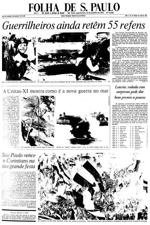 Primeira Página da Folha de 14 de setembro de 1970