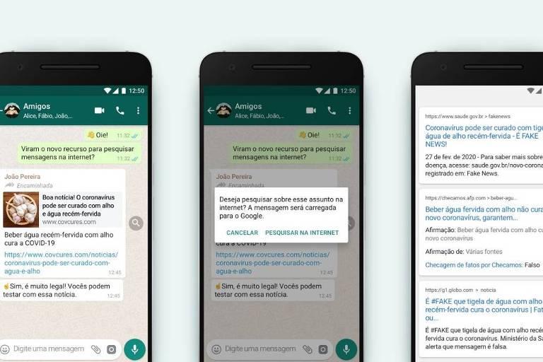 Recurso permitirá pesquisa no Google em mensagens muito encaminhadas