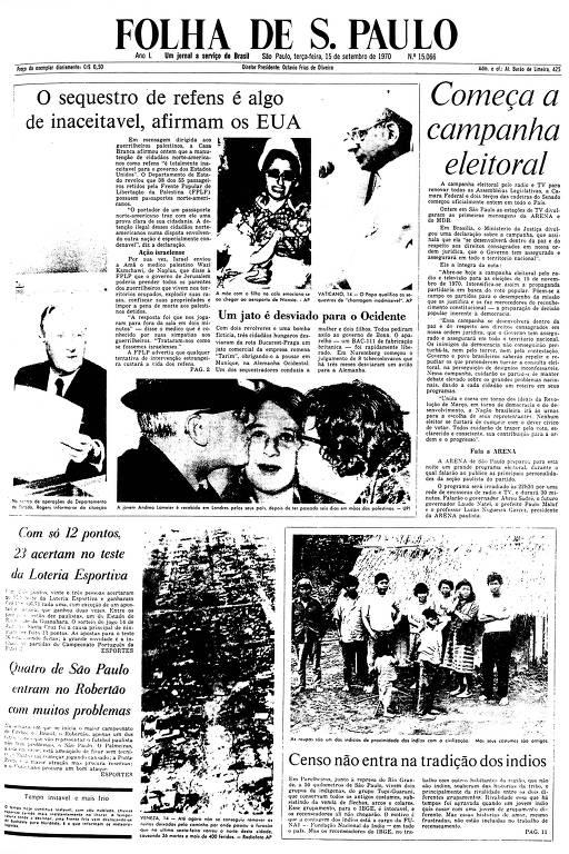 Primeira Página da Folha de 15 de setembro de 1970