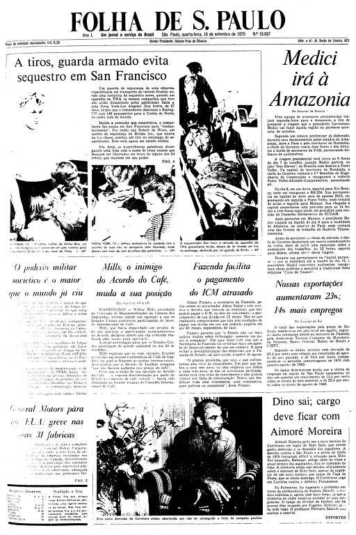 Primeira Página da Folha de 16 de setembro de 1970