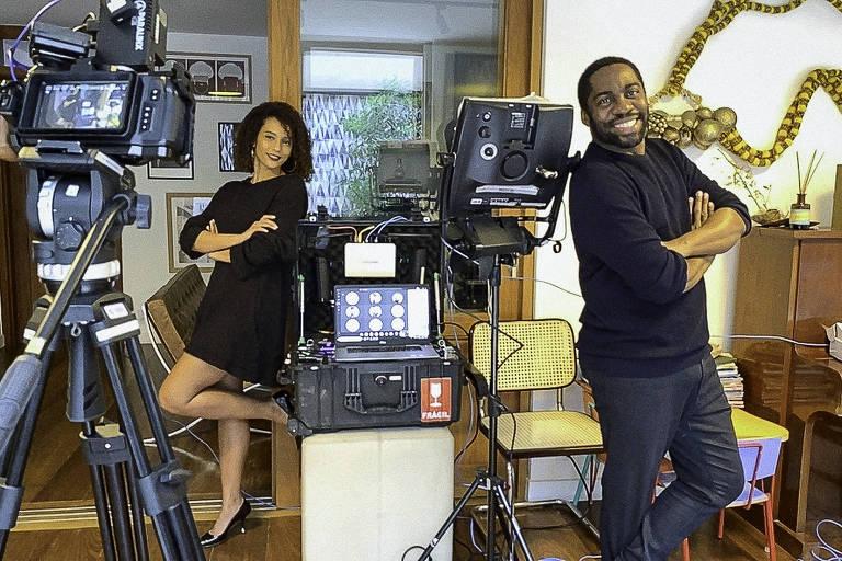 """Taís Araújo e Lázaro Ramos gravam de casa episódio de """"Amor e Sorte"""""""