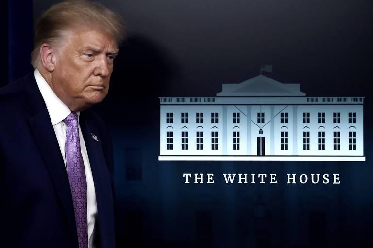 Donald Trump chega à sala de imprensa da Casa Branca para entrevista coletiva