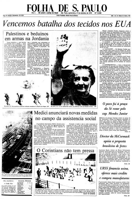 Primeira Página da Folha de 17 de setembro de 1970