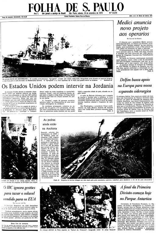 Primeira Página da Folha de 19 de setembro de 1970