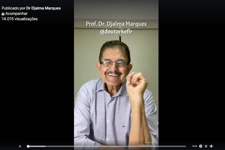 Médico Djalma Marques, o Doutor Kefir, em vídeo com informações falsas sobre a Covid-19