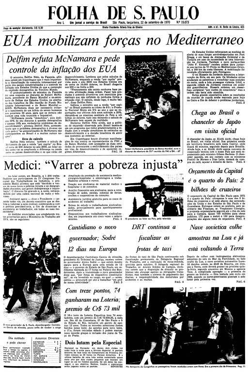 Primeira Página da Folha de 22 de setembro de 1970