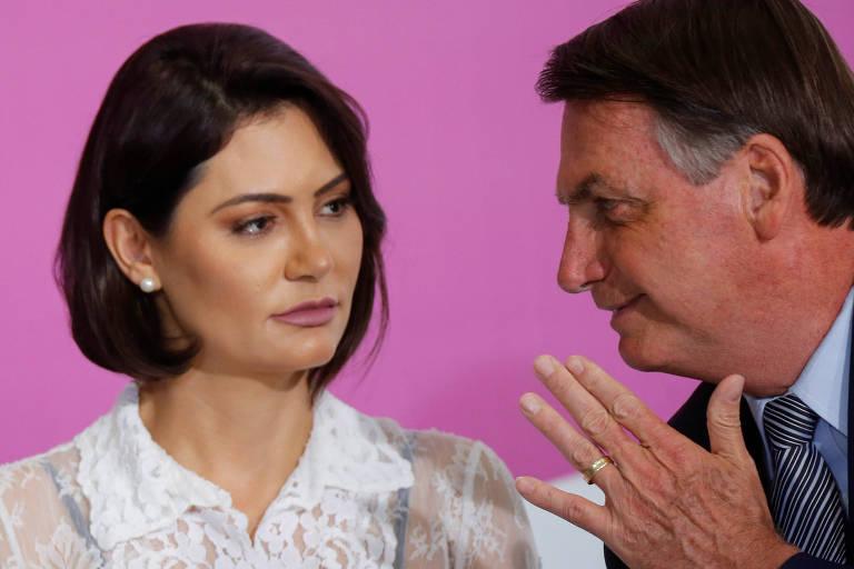 O presidente Jair Bolsonaro e a primeira-dama, Michelle, no Palácio do Planalto