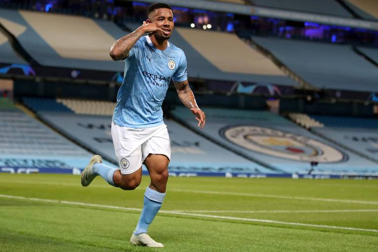 Gabriel Jesus comemora o gol da classificação do Manchester City contra o Real