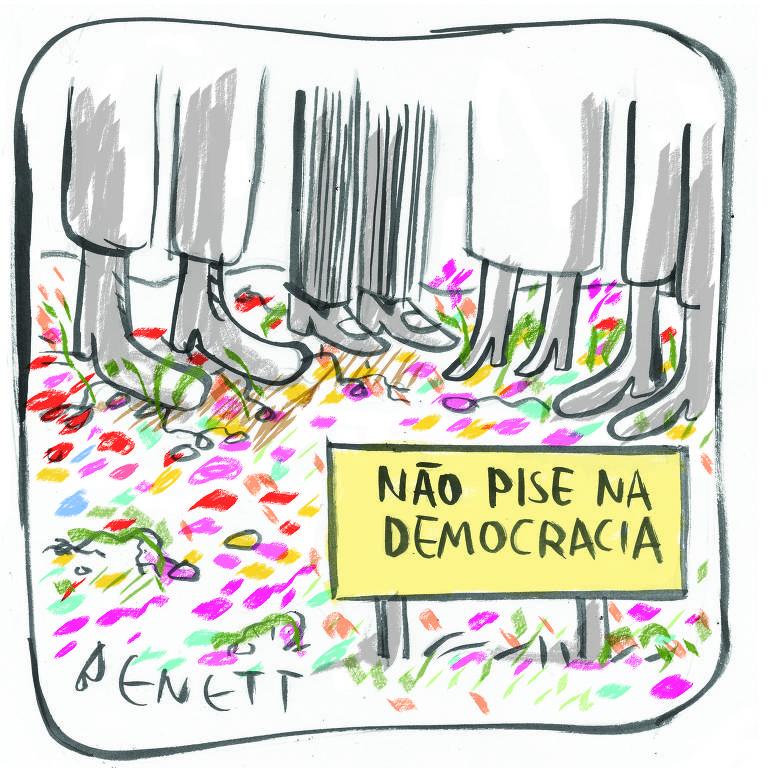 """Na charge, aparecem quatro pessoas, mas se vê apenas seus pés. Elas estão sobre um chão coberto de flores e há um placa onde se lê """"não pise na democracia"""""""