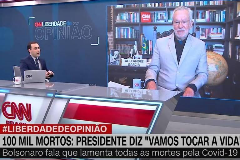 Rafael Colombo discute com Alexandre Garcia, ao vivo, na CNN